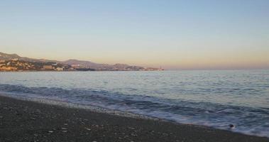 malaga sunny day beach bay panorama 4k