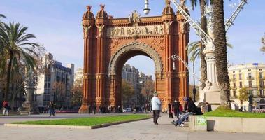 luz solar arco de triomf 4k espanha barcelona local turístico