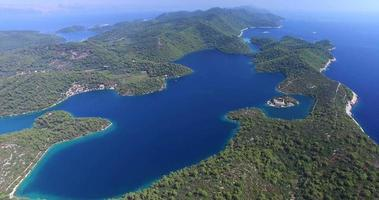 Aerial view of Mljet Island, also called Green Island, Croatia video