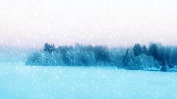 Schneesturm, Schneegestöber wehen über eine wunderschöne skandinavische Winterszene.