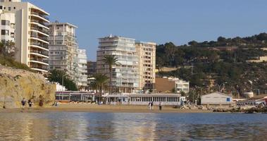 calpe walking beach 4k hotels view video