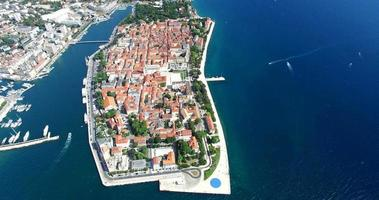 Aerial view of beautiful Zadar town video