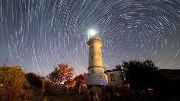 4K. Timelapse of beautiful night landscape with lighthouse with rotating starry sky on a background