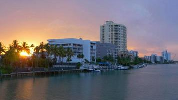 USA miami beach golfo vivente blocco tramonto panorama 4K video