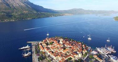 Aerial view of city of Korcula, Croatia