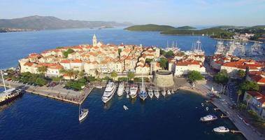 Aerial view of harbour in city of Korcula, Croatia