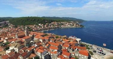 Aerial view of roofs in city of Korcula, Croatia
