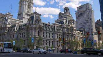 usa summer day philadelphia city hall square traffic 4k pennsylvania