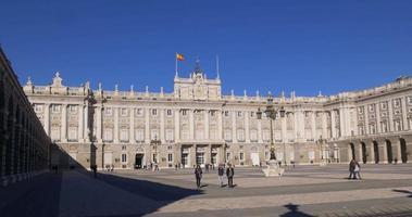 Spanien sonniger Tag Madrid Royal Palace Panorama Platz 4k