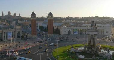 Panoramablick auf das Dach der Stadt Barcelona auf Placa Easpanya 4k Spanien video