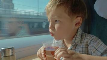 Child having tea and looking out window in moving train