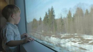 Boy looking at nature scene through the train window