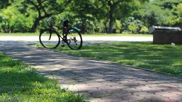 andar en bicicleta en el parque público.