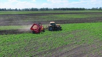 Agriculture field and tractor
