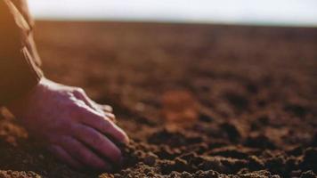 agriculteur examinant le sol. fond de l'agriculture.