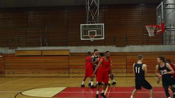 un giocatore di basket fa un canestro durante una partita