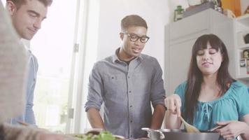 Young couples cooking together
