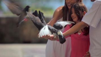 la famille nourrit les oiseaux ensemble