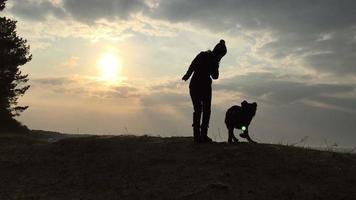 silhueta da menina e do cachorro contra o céu e o sol