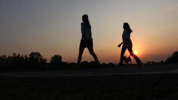 Mädchen und Hund gehen im Park, Silhouette video
