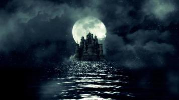 A View of a Huge Black Castle in The Middle of the Sea with a Rising Full Moon