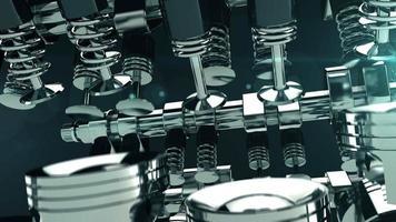 animación 3d del motor v8 de trabajo video