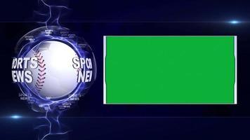 animação de texto de notícias de esportes, bolas esportivas e tela verde, loop video