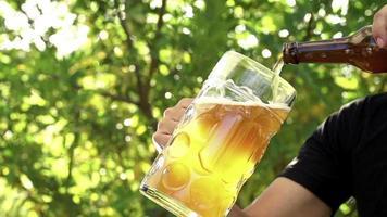 Bier wird in Zeitlupe in Glas gegossen video