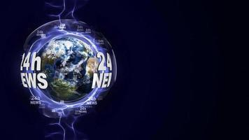 24h Nachrichtentextanimation und Erde, Schleife