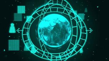 global technology concept animation,blue background loop