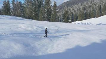 aéreo - jovem fazendo caminhadas de inverno na companhia de seu cachorro video
