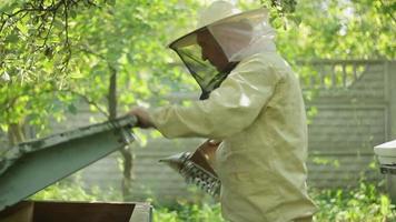 apiculteur au travail avec un appareil de fumigation