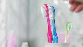 aggiunta di spazzolino da denti per bambini nel supporto. concetto di nascita del bambino