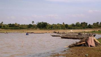 pescador de camarão levantando rede da água do lago video