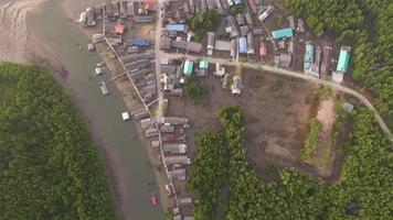 aerial photography top view of fishing village video