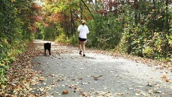 fille jogging avec chien. video