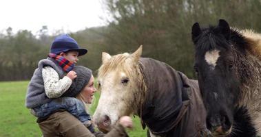 madre e hijo acariciando el caballo a pie en r3d video