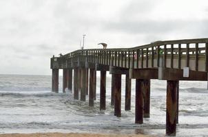 Fishing pier on a cloudy day