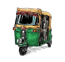 Sketch of a auto rickshaw vector