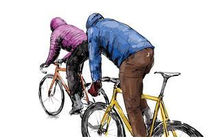 Boceto de ciclistas en bicicletas de piñón fijo. vector