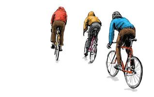 Sketch of cyclists riding fixed gear bicycles vector