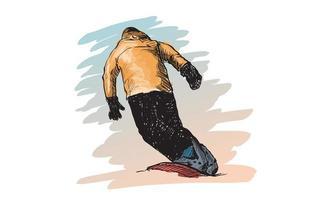 Sketch of man snow boarding vector