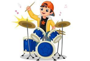 Little boy playing drum set