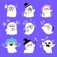 Conjunto de fantasmas fofos e assustadores de desenhos animados vetor