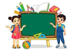 Kids with empty blackboard
