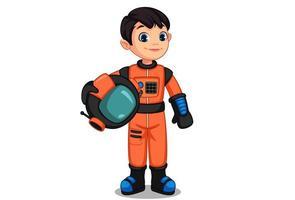 Cute little astronaut kid vector