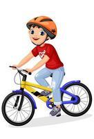 niño feliz en casco montando bicicleta vector