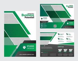 Corporate Green and White Bifold Brochure Template vector