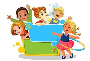 girls playing around the blank board vector