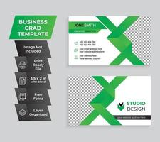 Creative green and white business card and name card template  vector